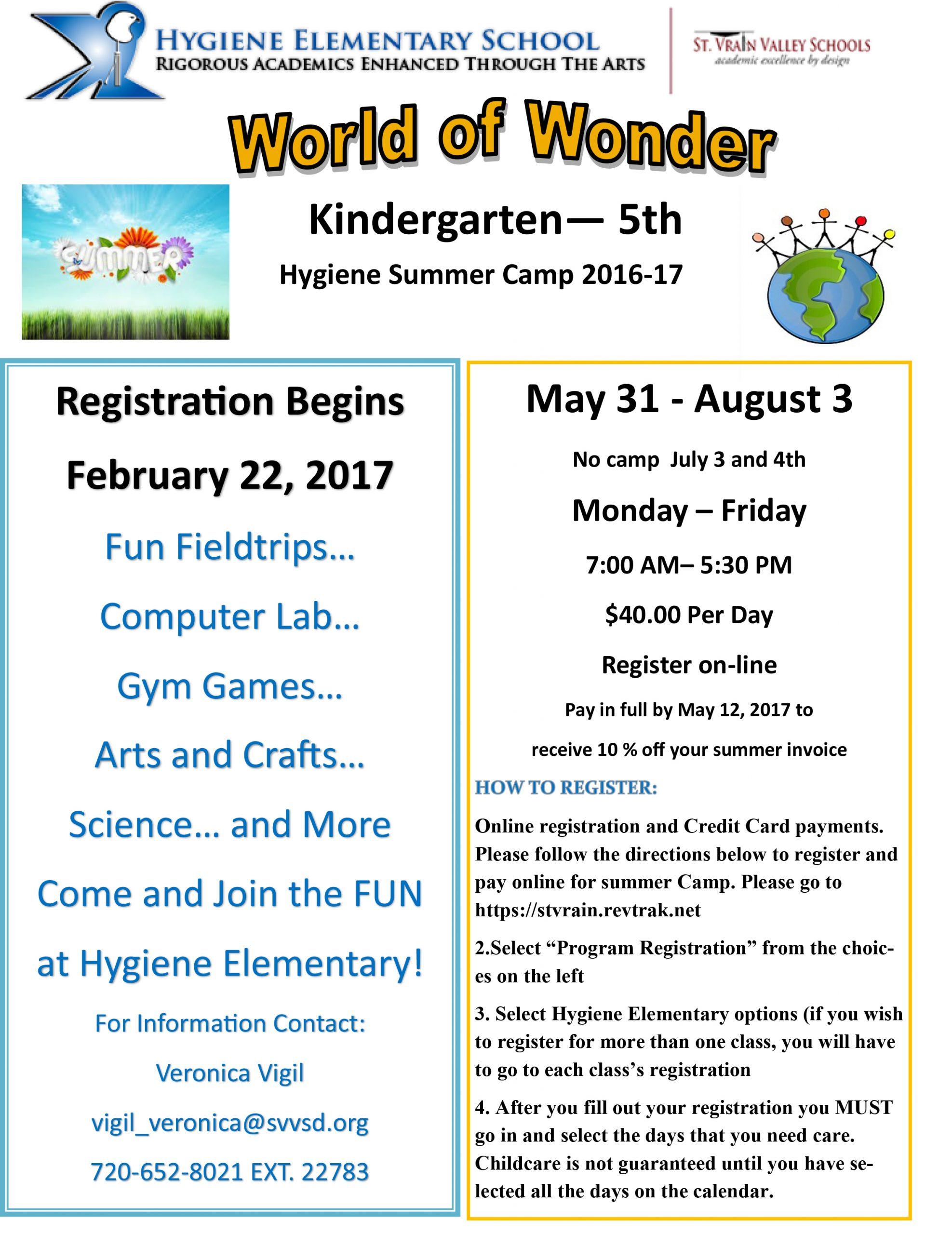 Summer Camp 2017 | Hygiene Elementary School Within St Vrain Valley School Dist Calendar