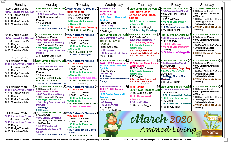 Summerfield Blog   Summerfield Of Hammond Assisted Living Intended For March Assisted Living Calendar Activities