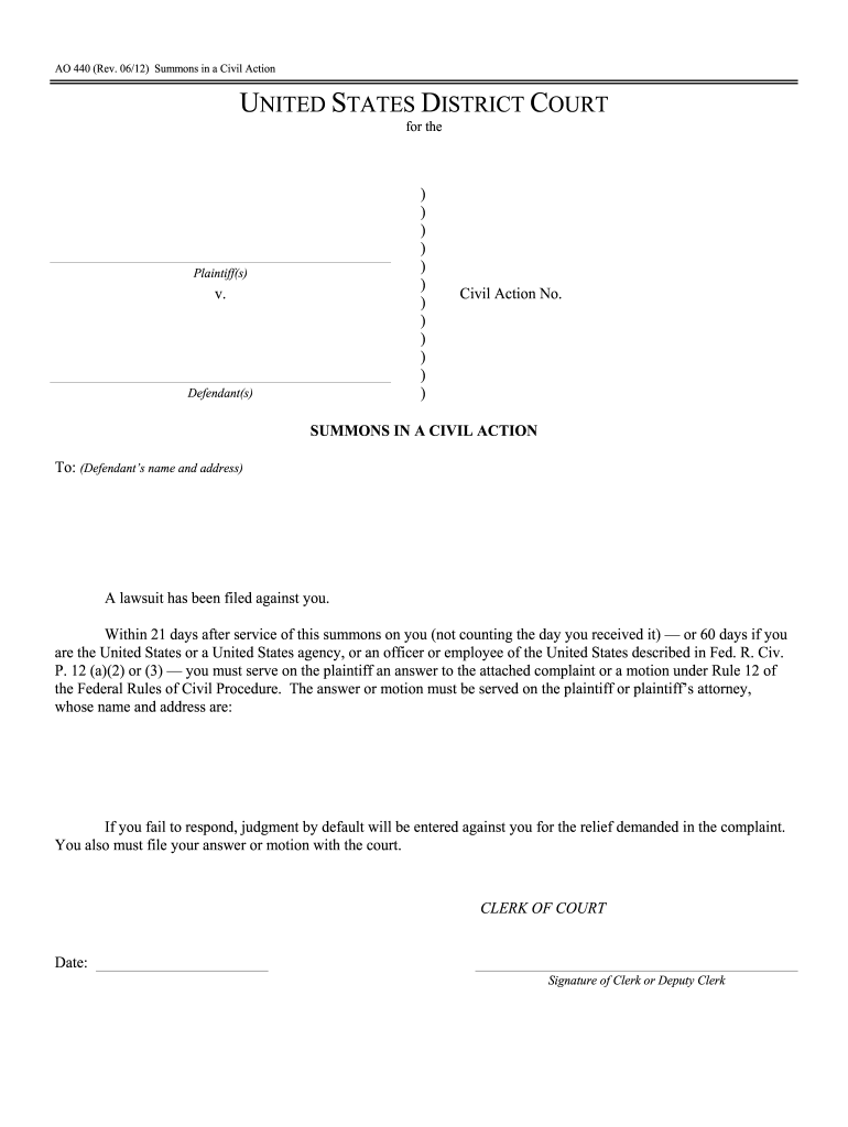 Summons - Fill Online, Printable, Fillable, Blank | Pdffiller Regarding Court Date By Defendant Name