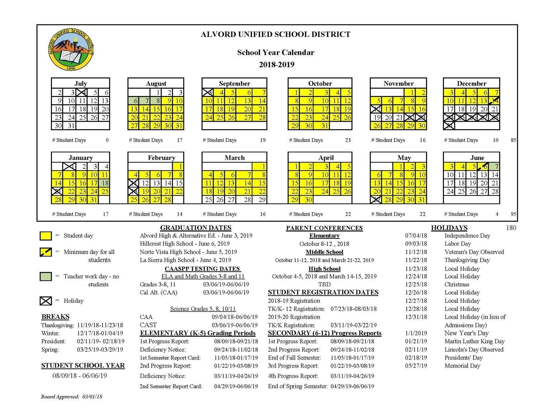 Take Skyline Vista Elementary School 2019 Calendar ⋆ The With Salinas City Elementary School District Calendar