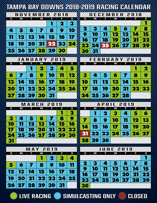 Tampa Bay Downs 2018 2019 Racing Calendar | Racing With Regard To Tampa Bay Downs Schedule