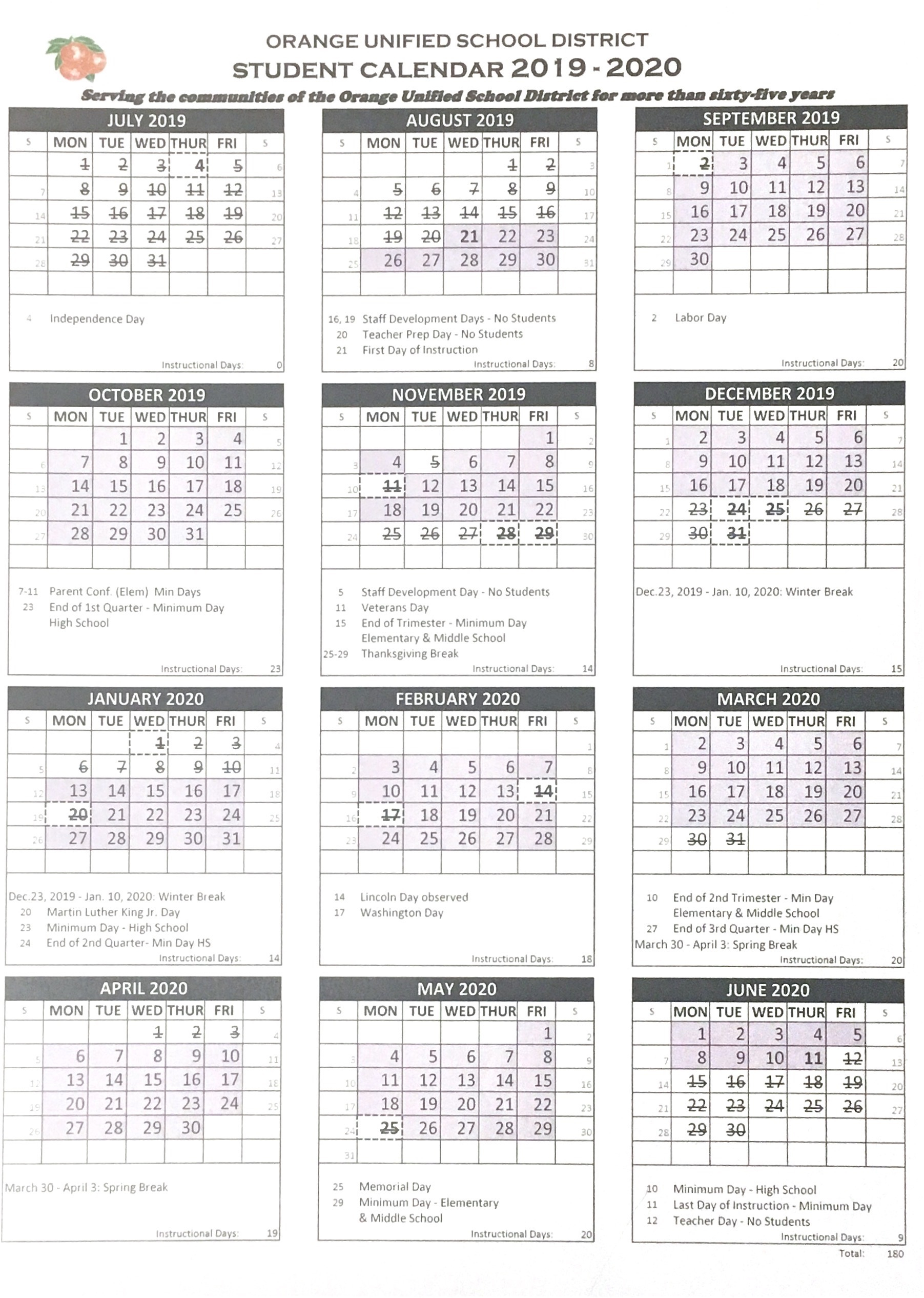 Temecula Unified School District Calendar | Printable With Example Year Round School Schedule