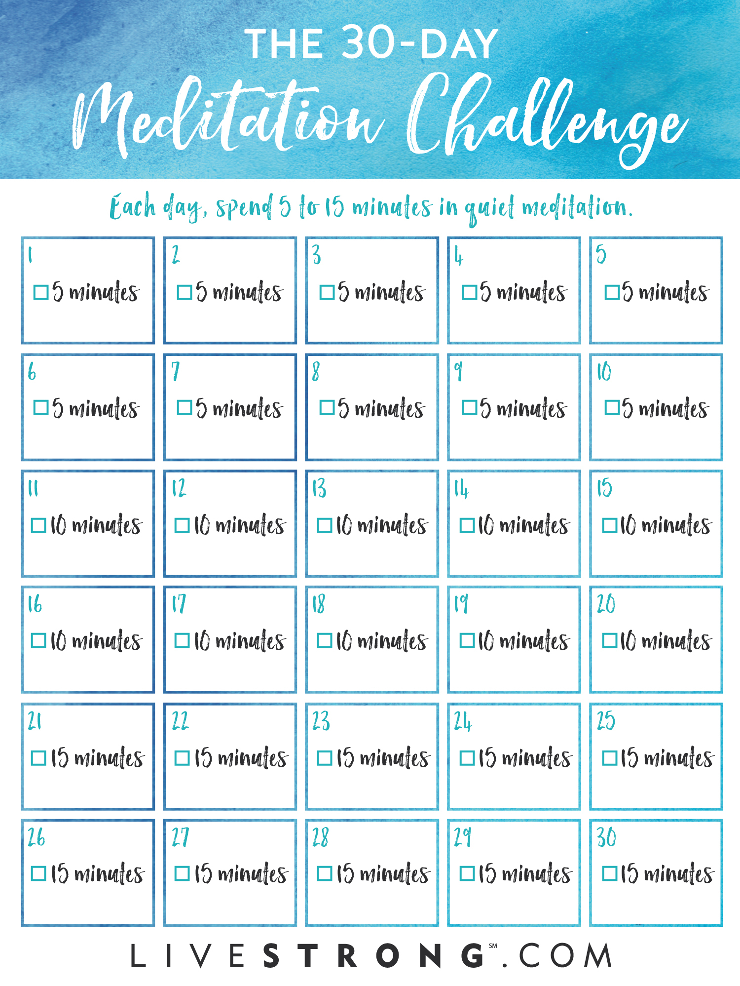 The 30-Day Meditation Challenge | Livestrong regarding 30 Day Sit Up Challenge Printable