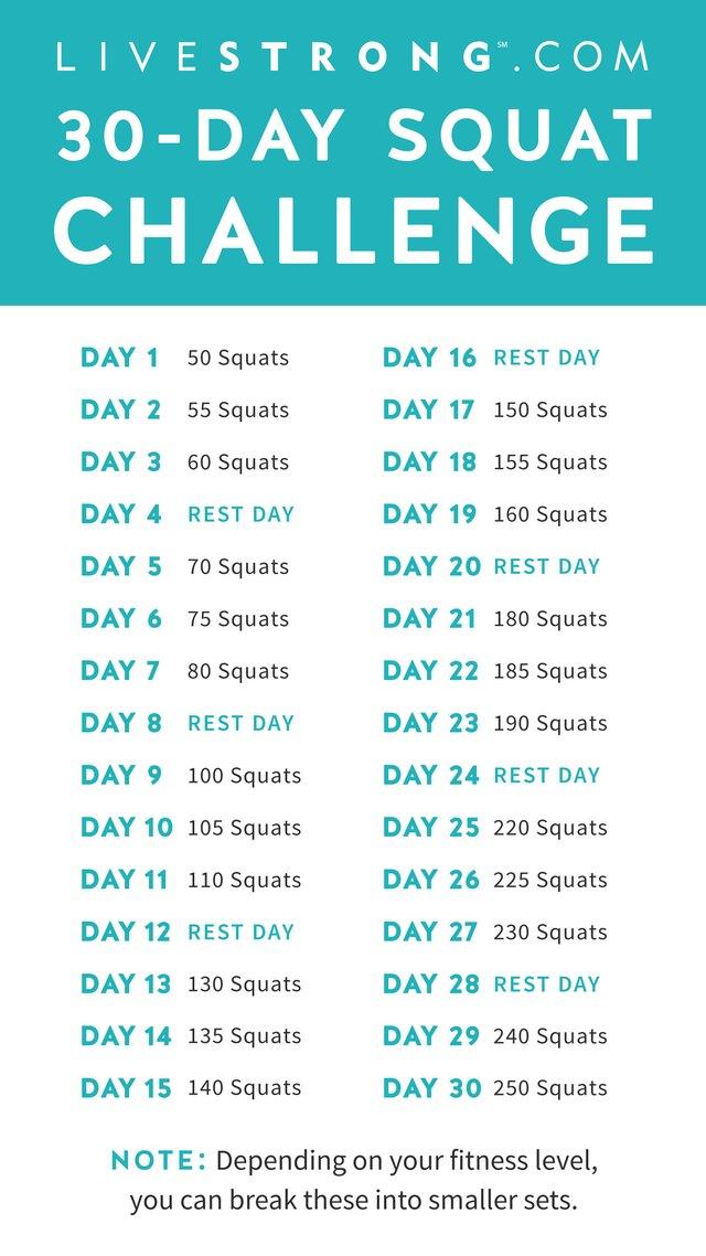 The 30 Day Squat Challenge | Livestrong Regarding 30 Days Abs Challenge Calendar