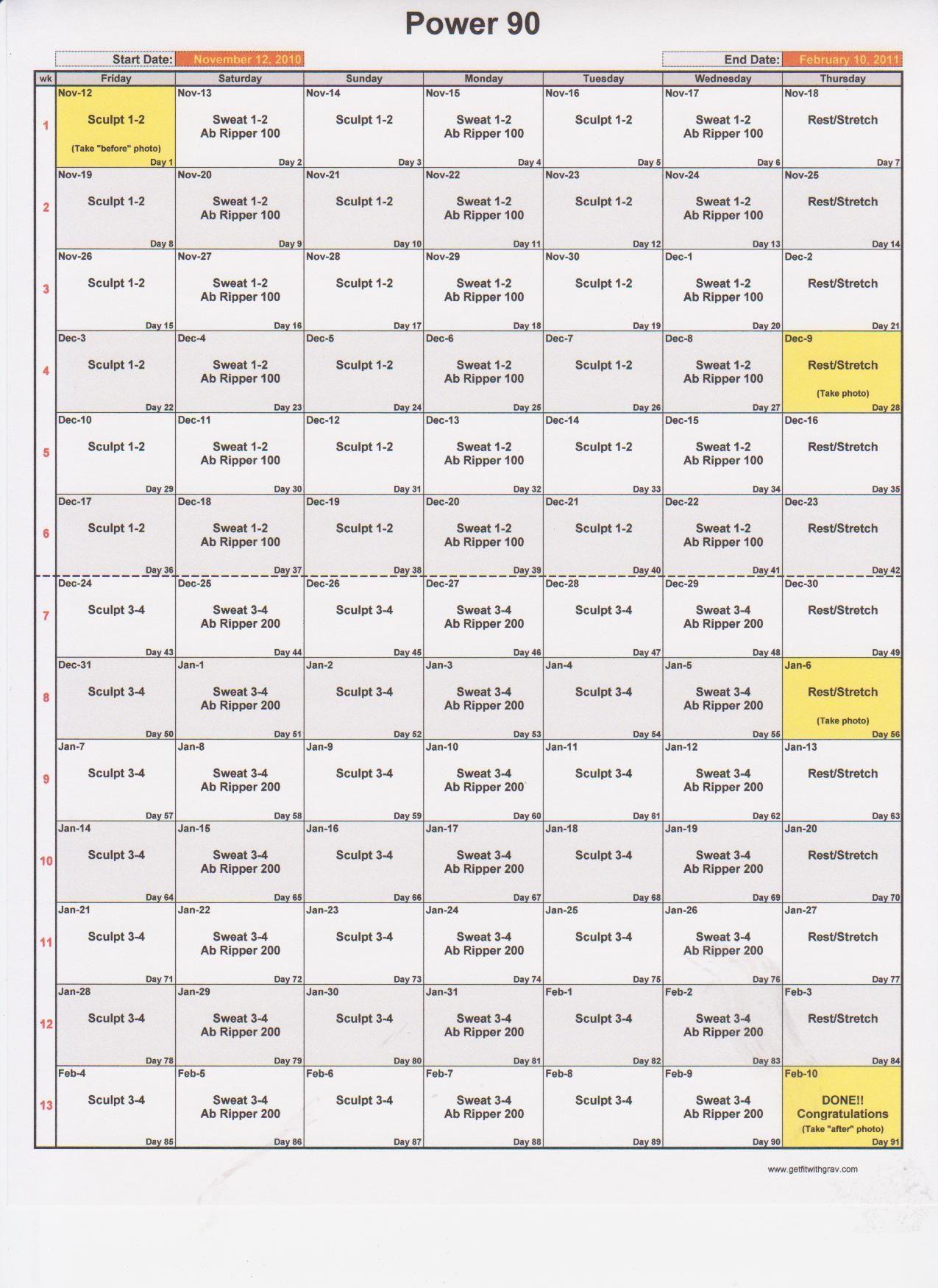 The Original Power 90 Schedule. He Has Many Beachbody Regarding Supreme 90 Day Workout Chart