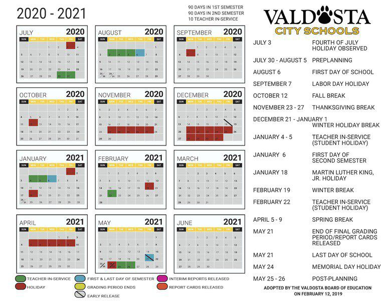 Troup County Schools Calendar 2020 21   Calendar 2020 Pertaining To 2021 Marion County Florida Spring Break