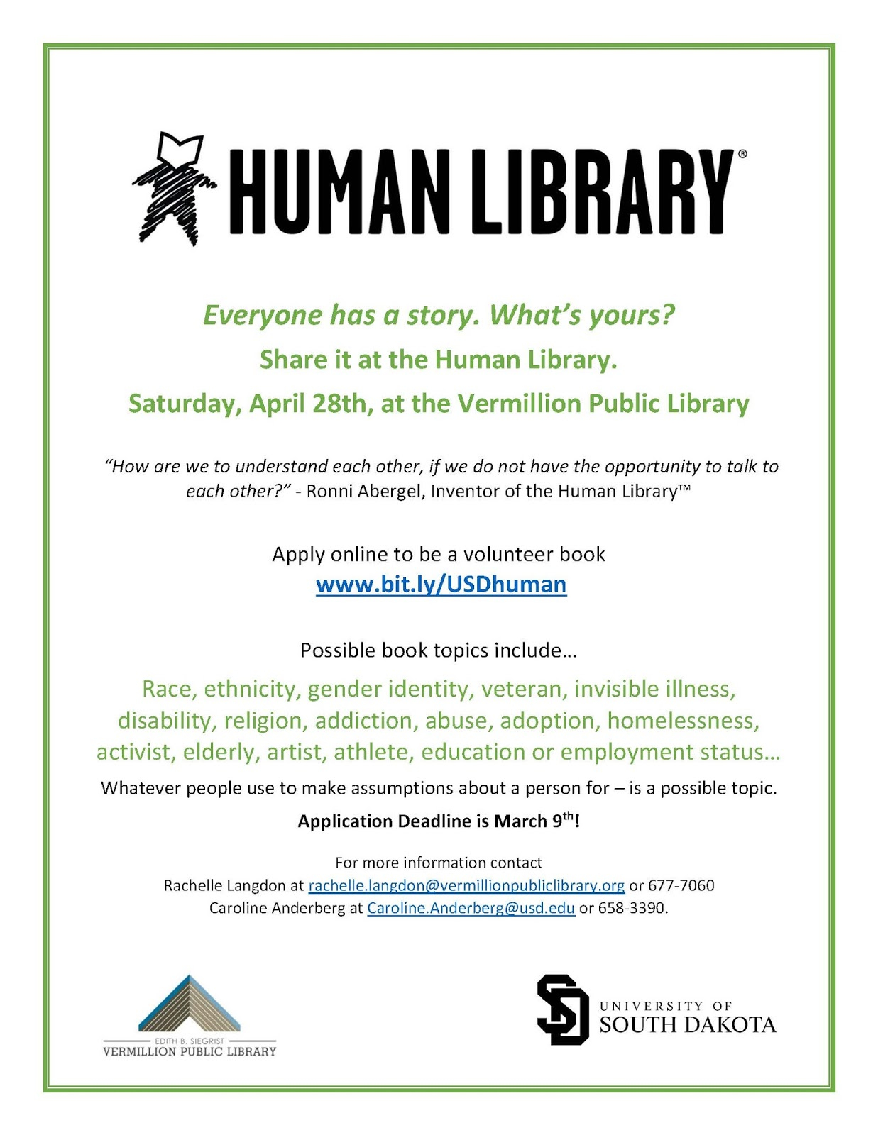 Usd University Libraries : Apply – Books For The Human Library For When Is Spring Break For University Of South Dakota