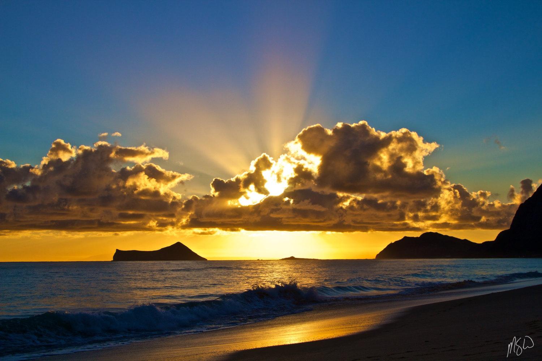 Waimanalo Beach Sunrise Wall Art Metal Print Hawaii | Etsy Intended For Sunrise And Sunset Times Printable