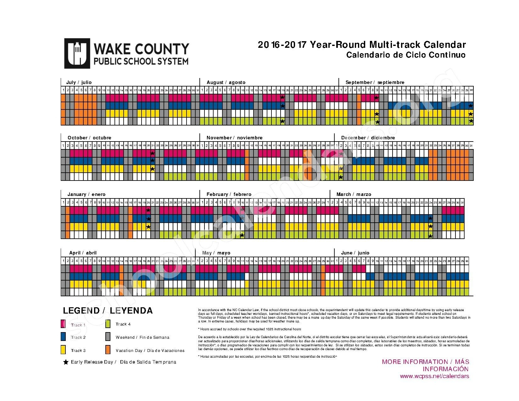 Wake County Year Round School Calendar 2018 18   Qualads Intended For What Is A Sample Year Round School Schedule