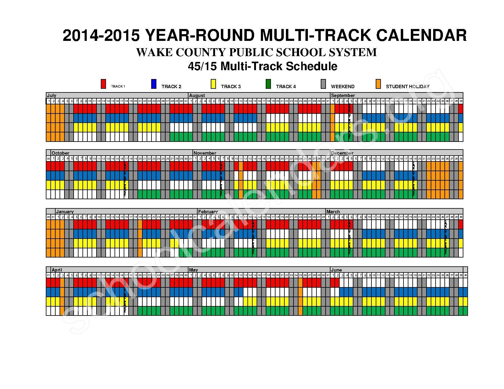 Wcpss Multi Track Year Round Calendar   Qualads With What Is A Sample Year Round School Schedule