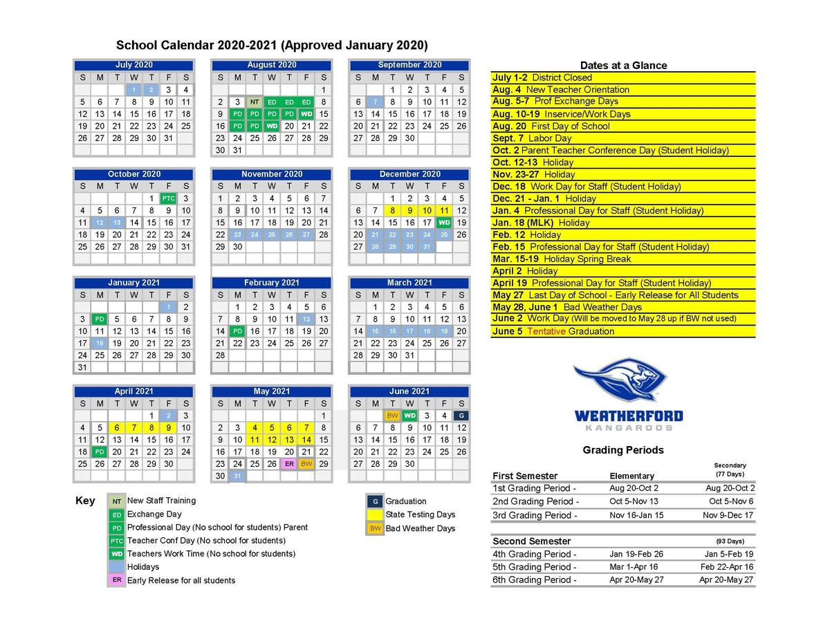 Weatherford Independent School District Pertaining To Smithtown School Calendar 2021 20