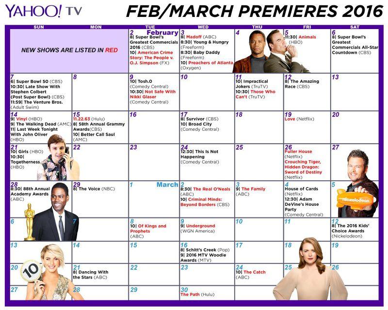 Winter Tv 2016 Schedule: Print Out A Premiere Dates Calendar Pertaining To Winter Tv Premiere Dates Calendar