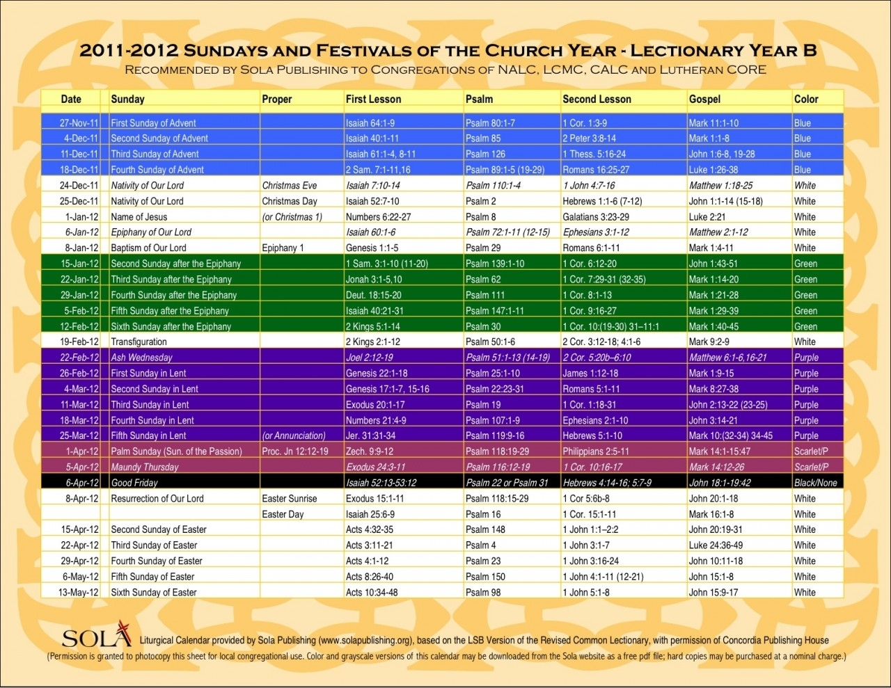 Year B Liturgical Calendar   Ten Free Printable Calendar Within Liturgy Of The Hours 2021 Printable