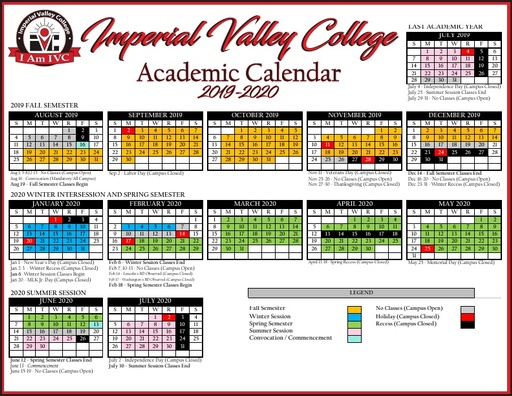 2019 20 Ivc Academic Calendar – Imperial Valley College Within Academic Calendar For Delaware State