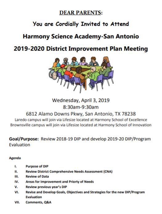 2019 2020 District Improvement Plan Meeting - 5 | Harmony Throughout Brownsville Independent School Calendar