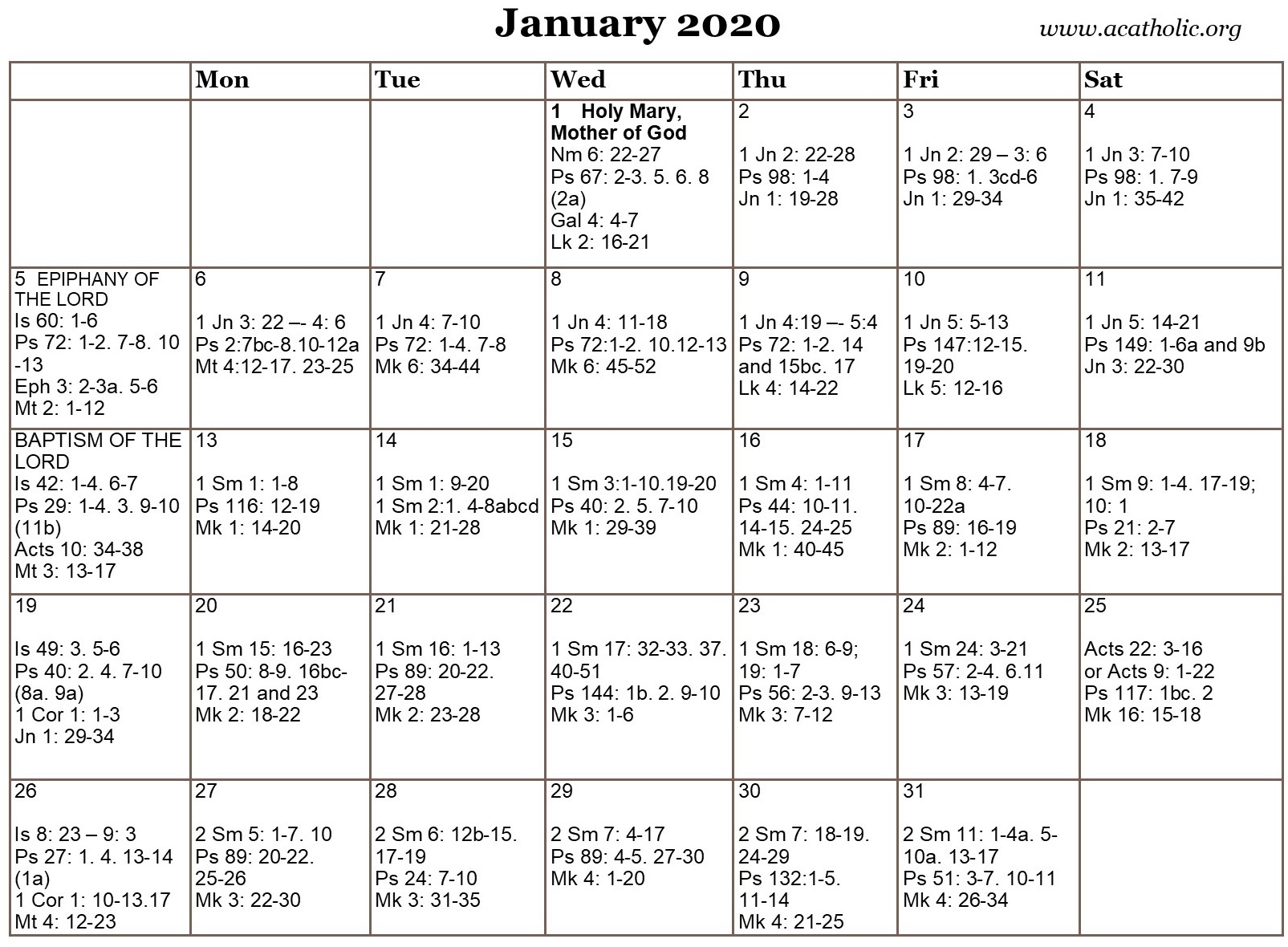 2020 Catholic Liturgical Calendar Readings | Free Within Free Catholic 2020 Saints Calendar