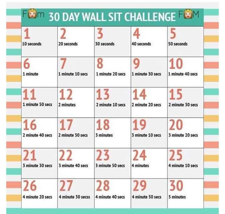 30 Day Wall Sit (Squat) Challenge. | 30 Day Workout In Sit Up Challenge Printable