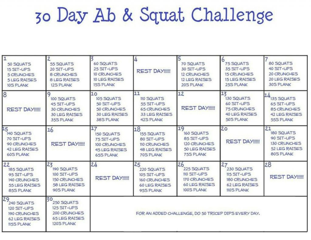 Ab And Squat Challenge Calendar Printable In 2020 | Squat Pertaining To Sit Up Challenge Printable