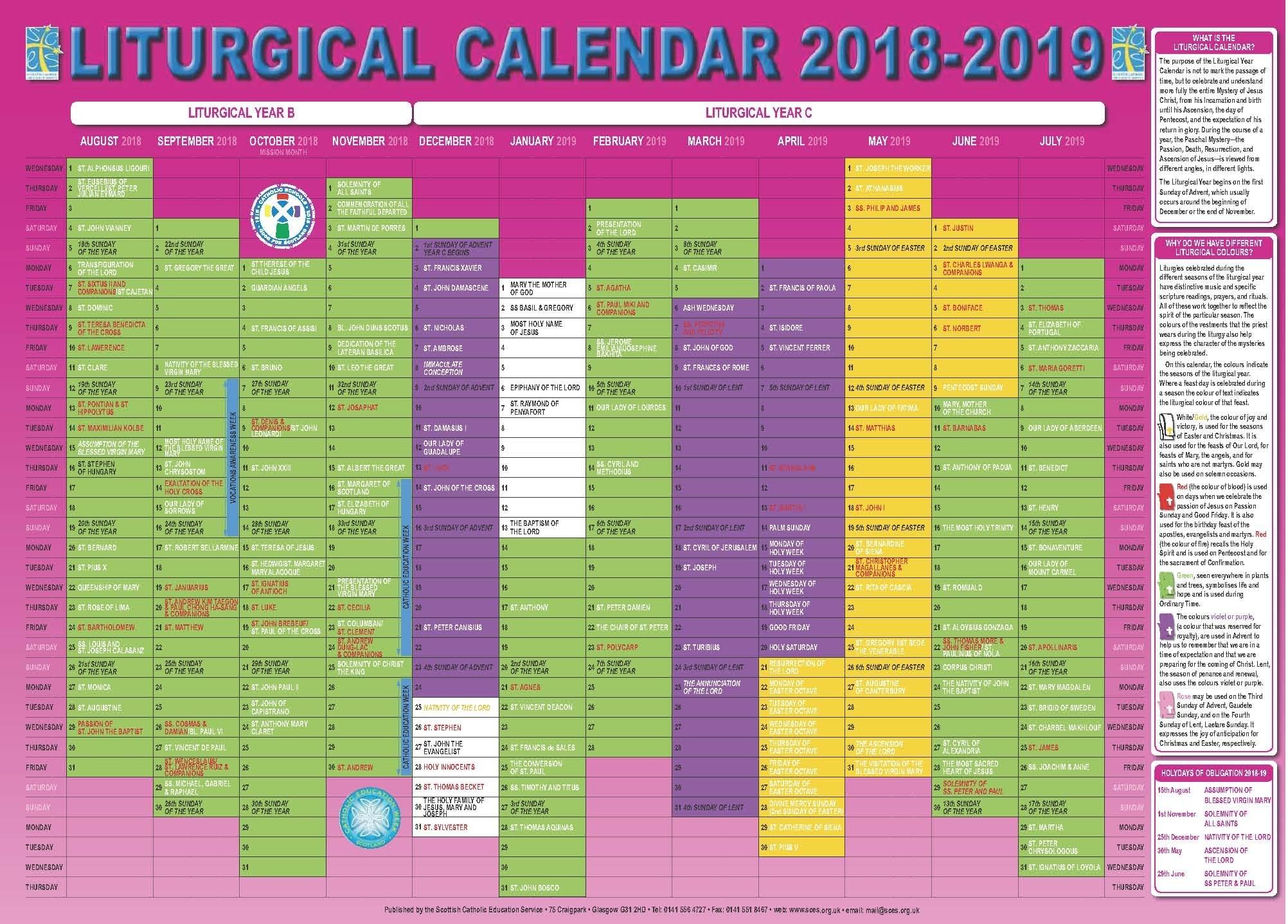 Catholic Liturgical Calendar 2020 Pdf – Calendar In Free Catholic 2020 Saints Calendar