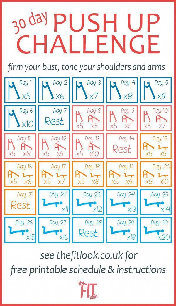 Chest Exercises For Women | Push Up Challenge, 30 Day Push Inside Sit Up Challenge Printable