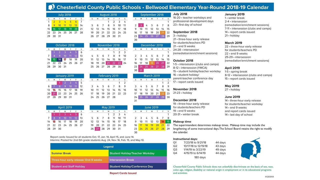 Chesterfield County Public Schools Calendar   Qualads In Year Round School Calendar Sample