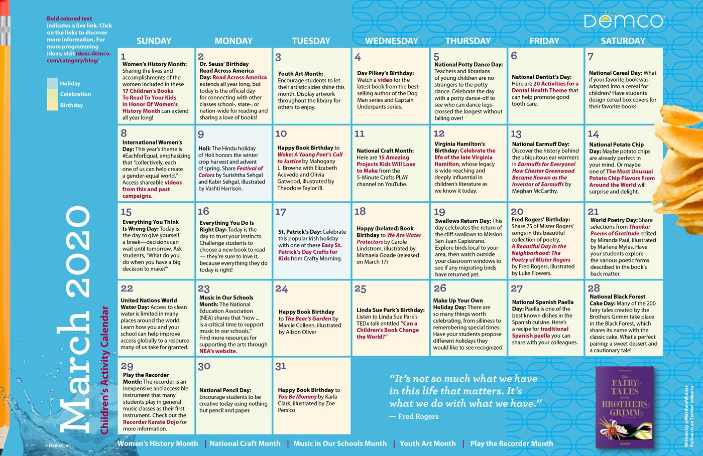 Children'S Programming Activity Calendar: March 2020 In Fitness Calendar For Kids May 2021