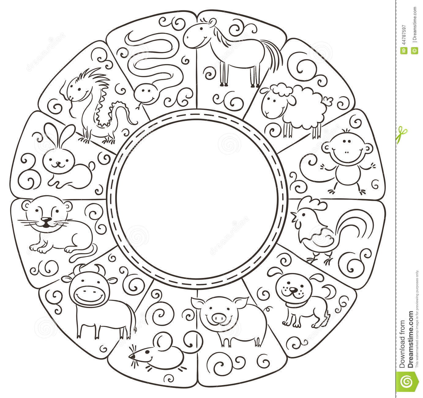 Chinese Zodiac Signs Stock Vector. Illustration Of Group Throughout Free Printable Chinese Zodiac