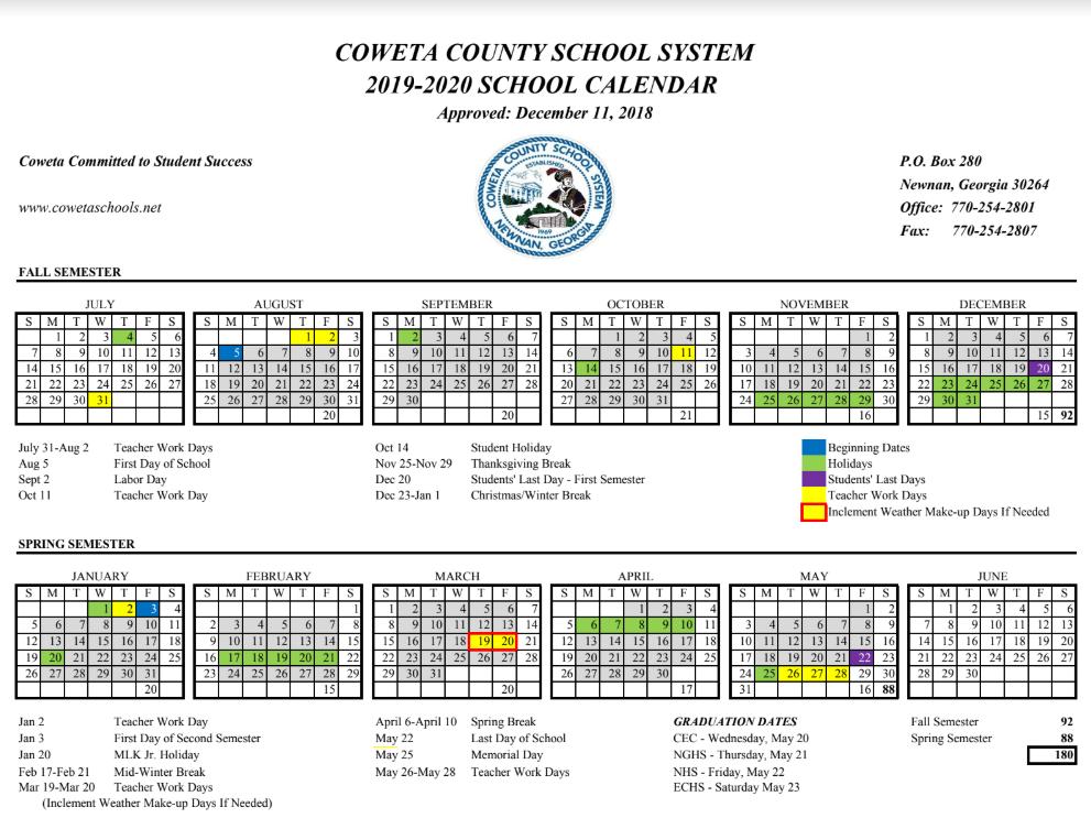 Coweta County Schools Calendar 2021 22 Pertaining To Public School Spring Vacation Dates San Diego County