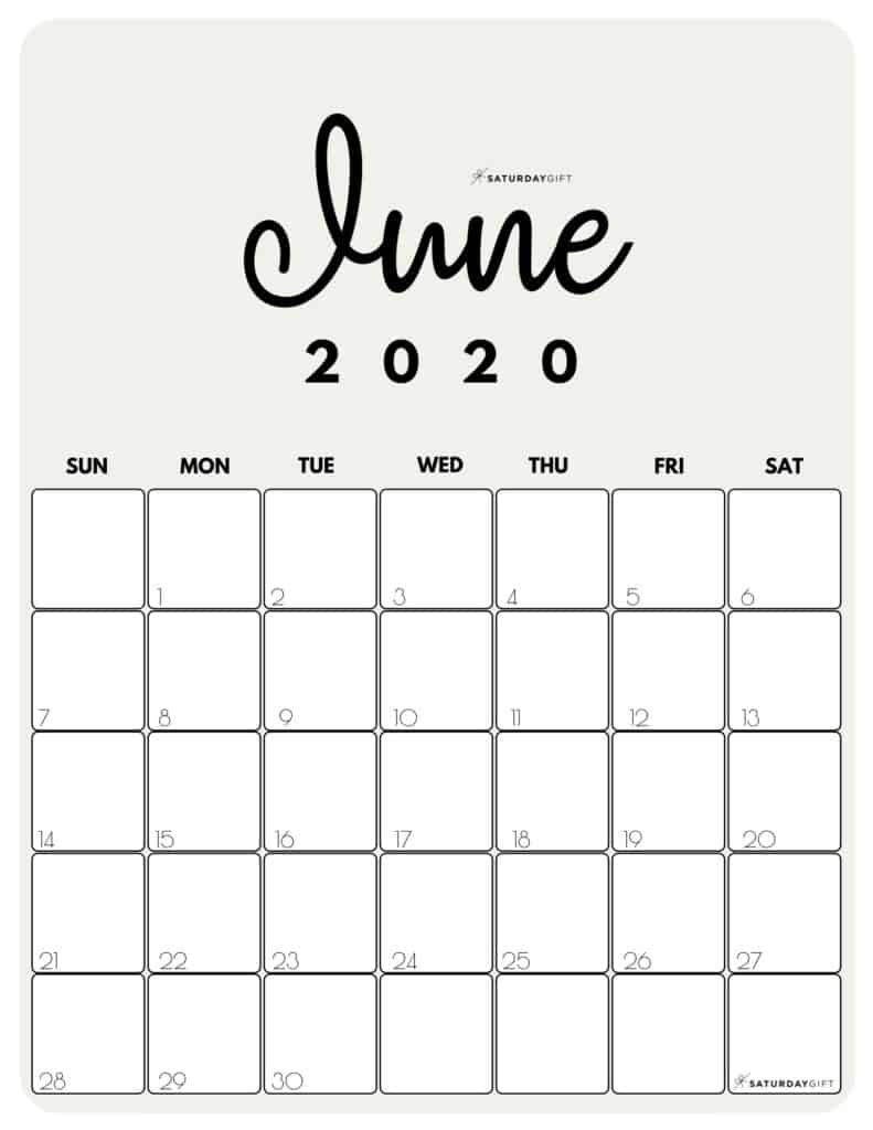 Cute (& Free!) Printable June 2020 Calendar | Saturdaygift with regard to Fitness Calendar For Kids May 2021