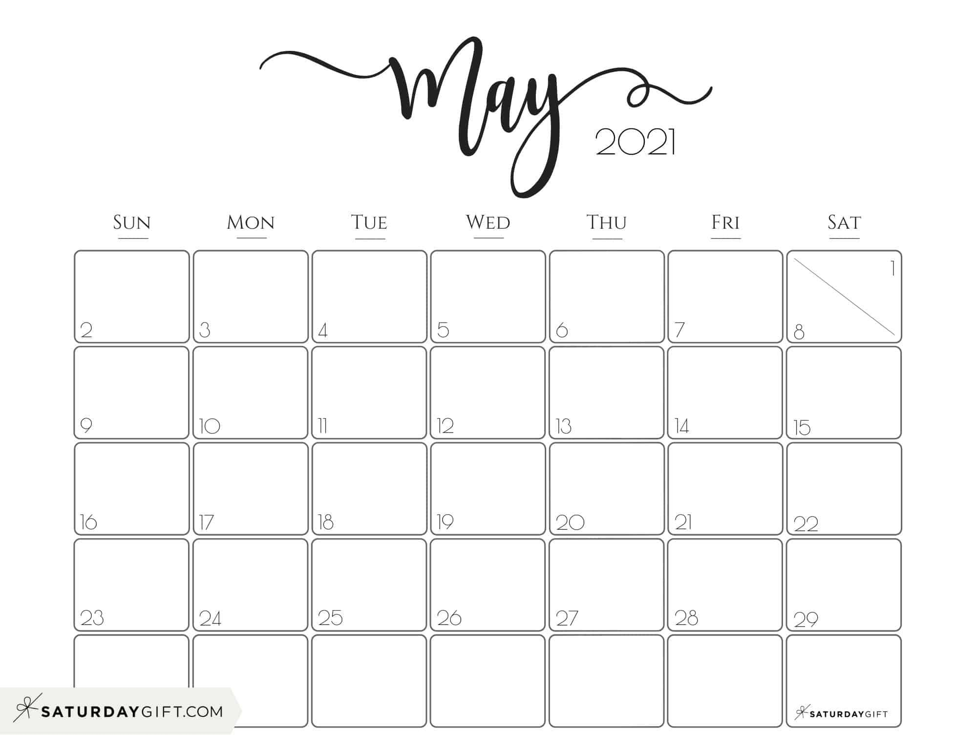 Elegant 2021 Calendarsaturdaygift – Pretty Printable Within Fitness Calendar For Kids May 2021