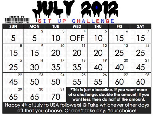 Healthylittlething: Workingforweightloss: July 2012 Sit With Regard To Sit Up Challenge Printable