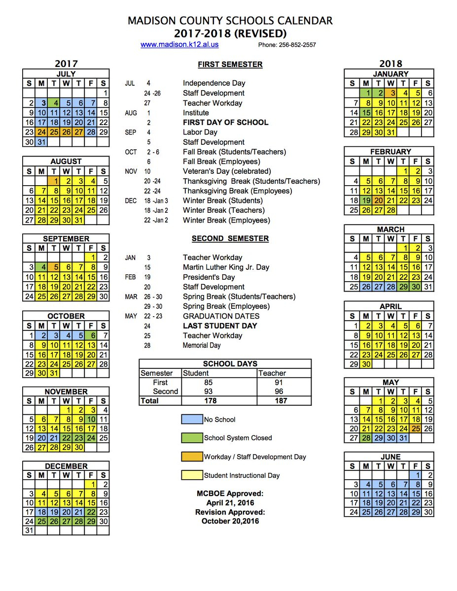 Madison County Schools School Year Calendar   Printable For Year Round School Calendar Sample