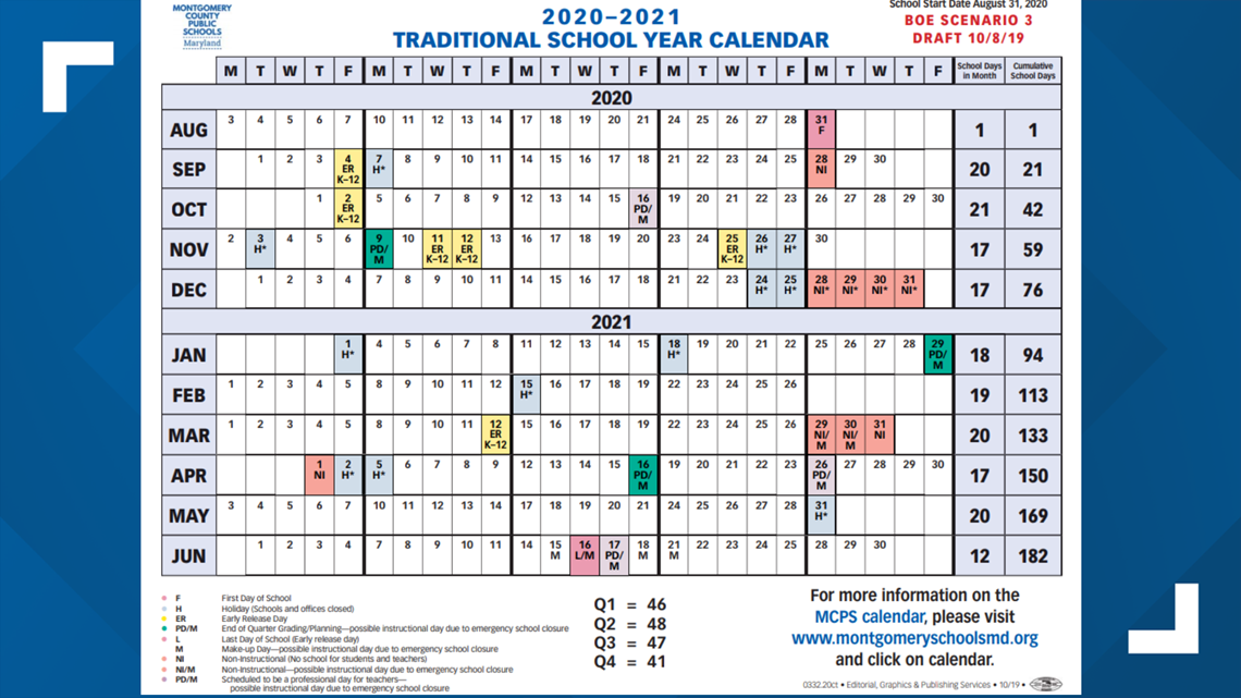 Mcps Will Begin School Before Labor Day For 2020 2021 In Public School Spring Vacation Dates San Diego County