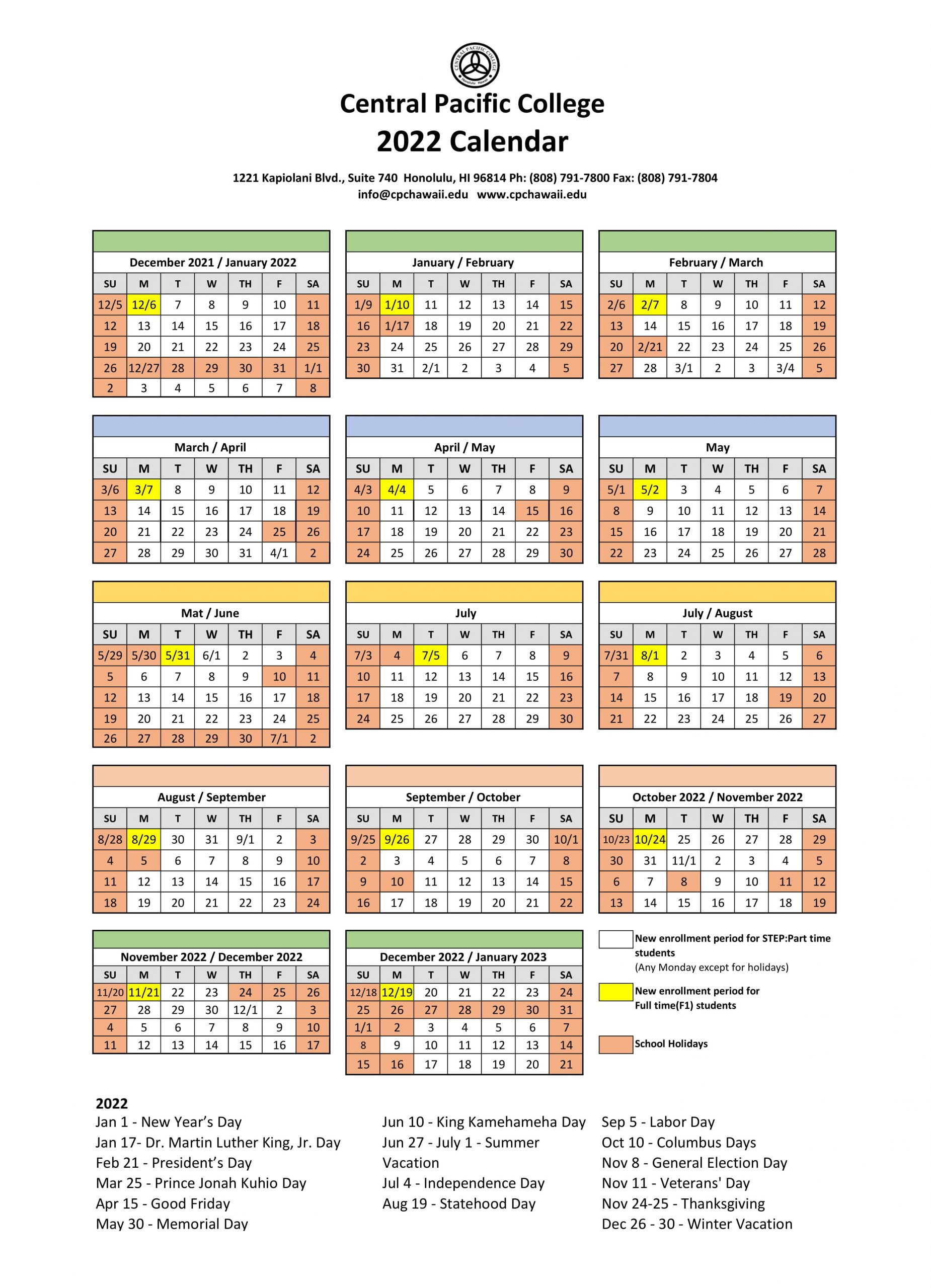Schulplan - Central Pacific College Regarding Delaware State University 2021 2020 Calendar