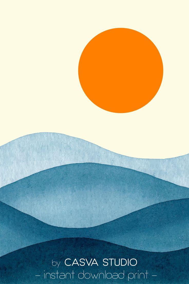 Sunset Hills Printsgeometric Sunrise Landscapeprintable Pertaining To Sunrise Sunset Times By Zip Code