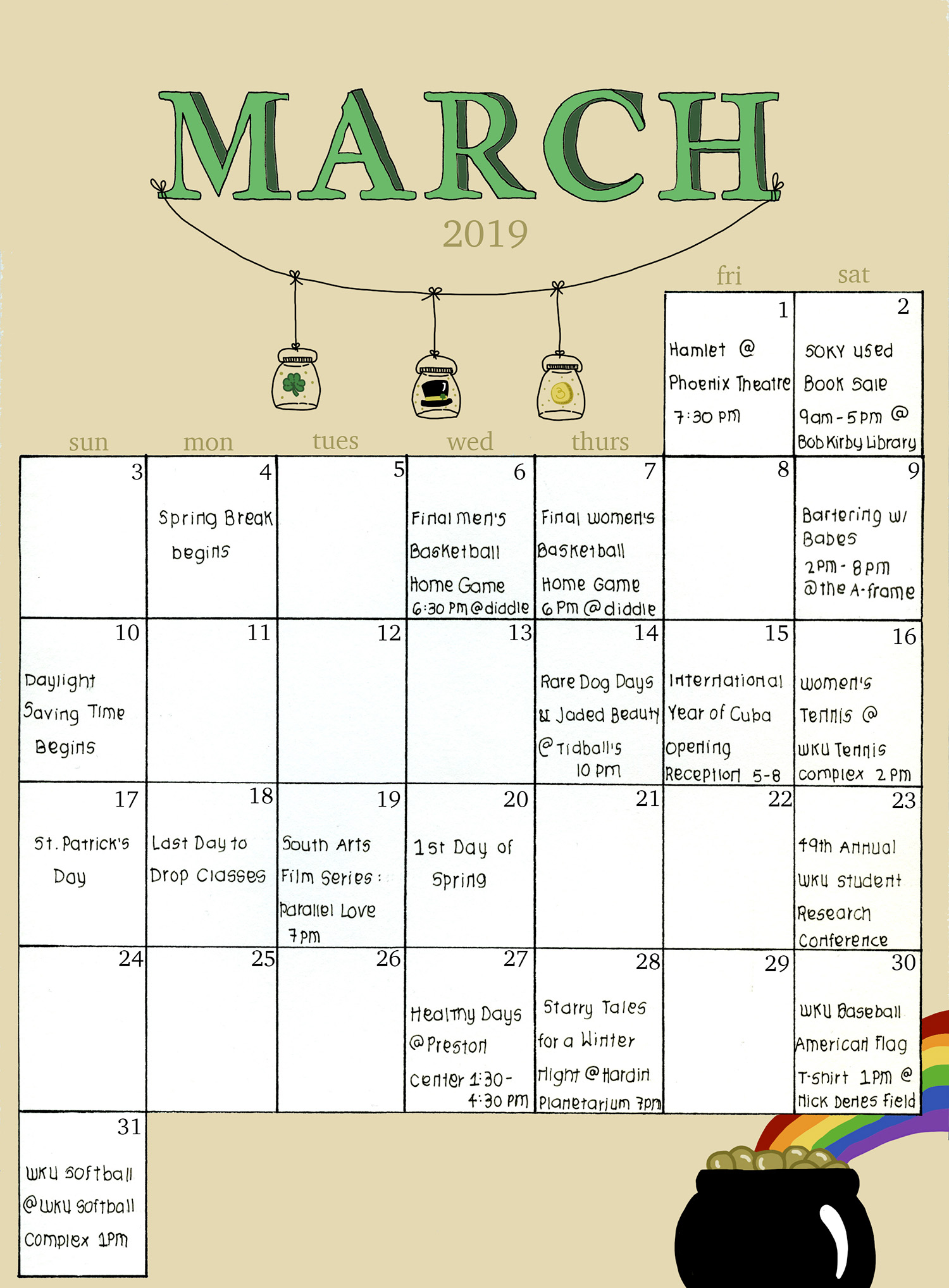 Talisman Agenda: March Events & Dates To Remember – Talisman With Warren County Ky Spring Break