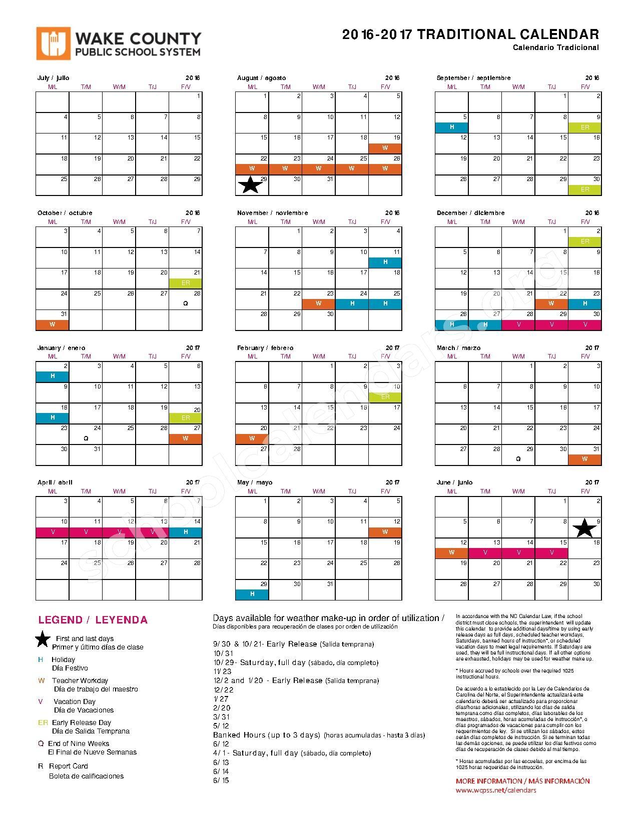 Wake County School System Calendars   Printable Calendar Throughout Wake County Public School System Tracks