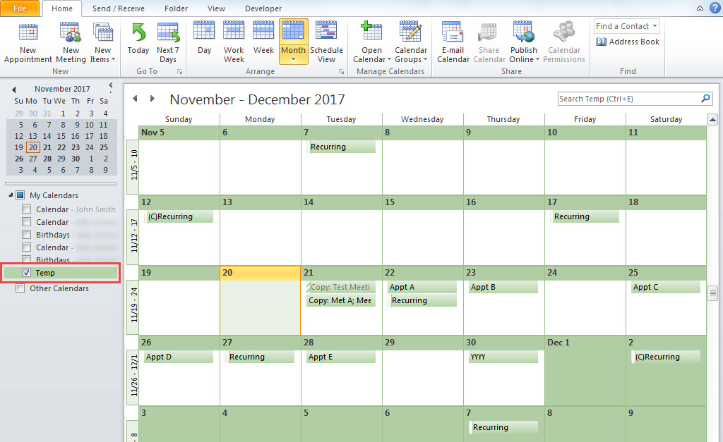 2 Quick Means To Merge & Print Multiple Outlook Calendars Intended For Change Excel Data To Calendar View
