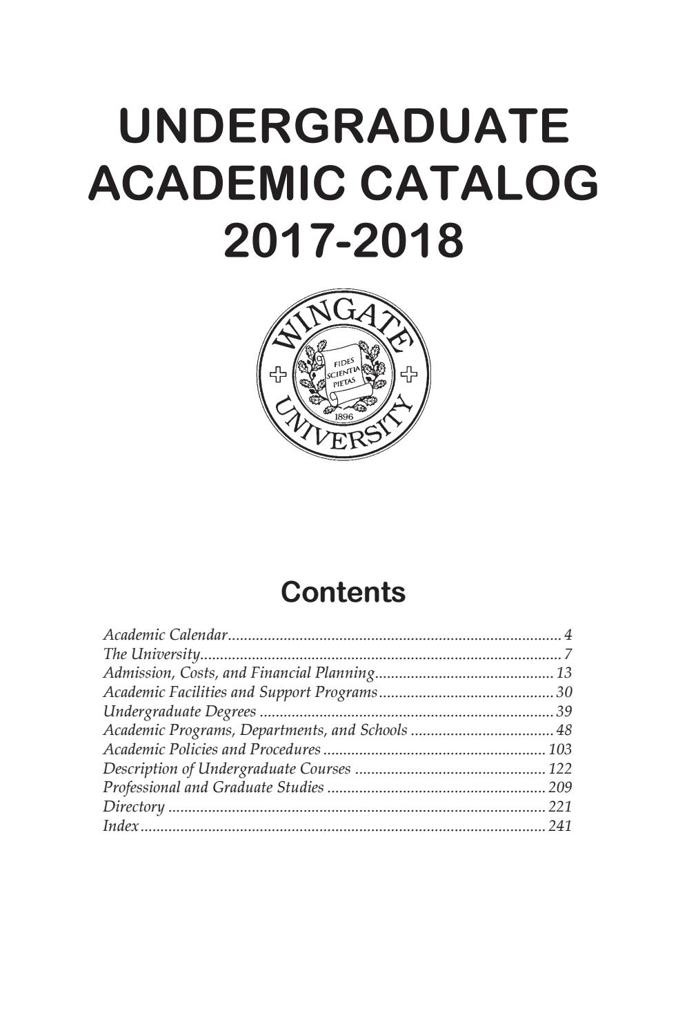 2017 18 Undergraduate Catalogwingate University - Issuu Pertaining To Delaware State Calendar