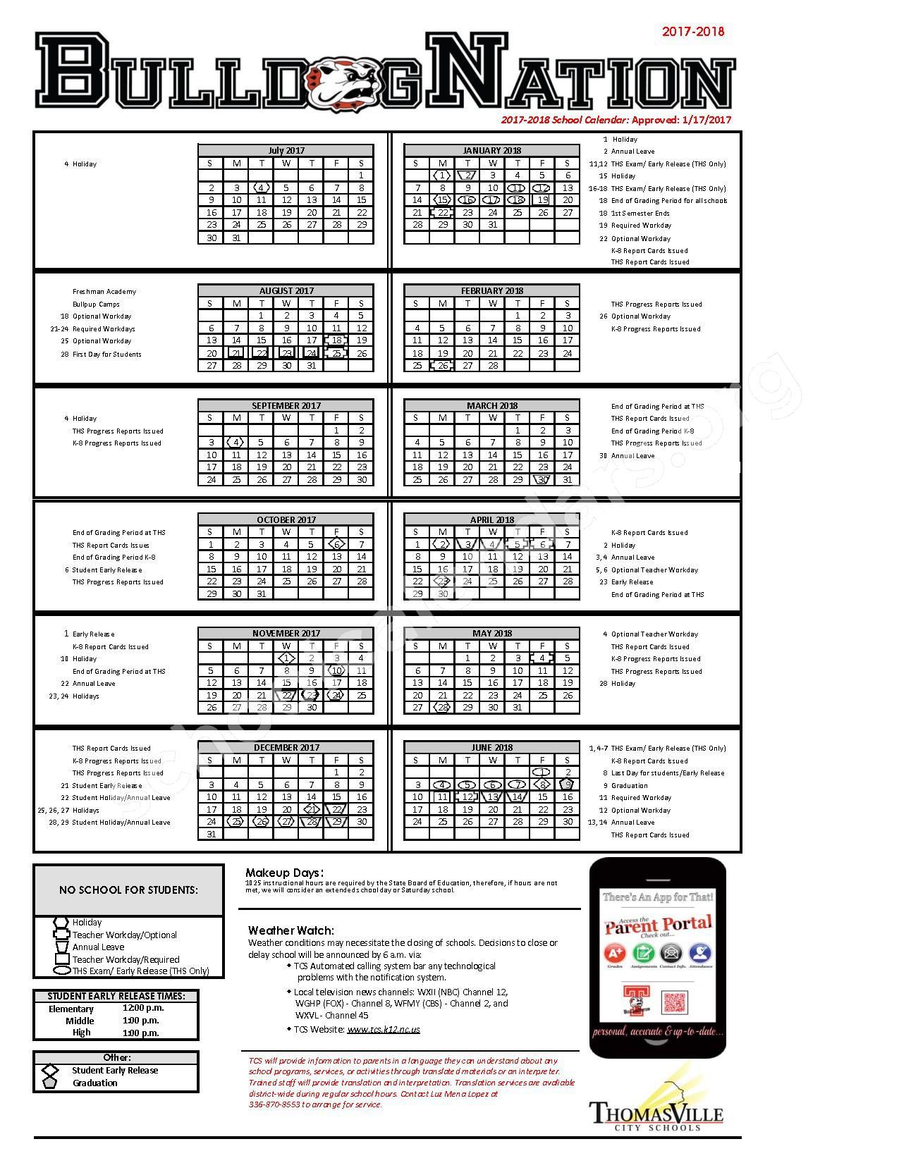 2017 – 2018 School Calendar | Thomasville City Schools For Calendars/State.nc.us