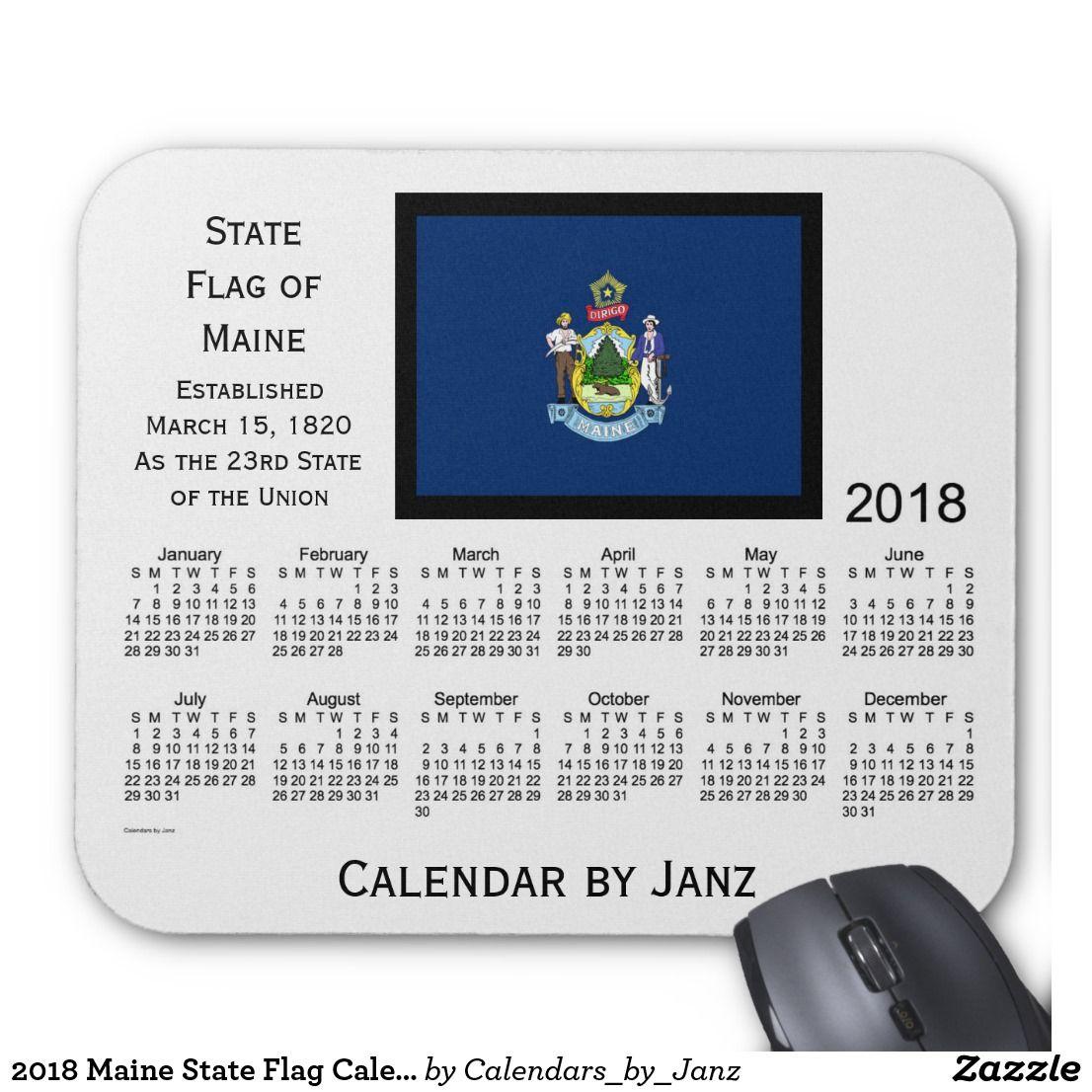 2018 Maine State Flag Calendarjanz Mouse Pad Regarding Delaware State Calendar