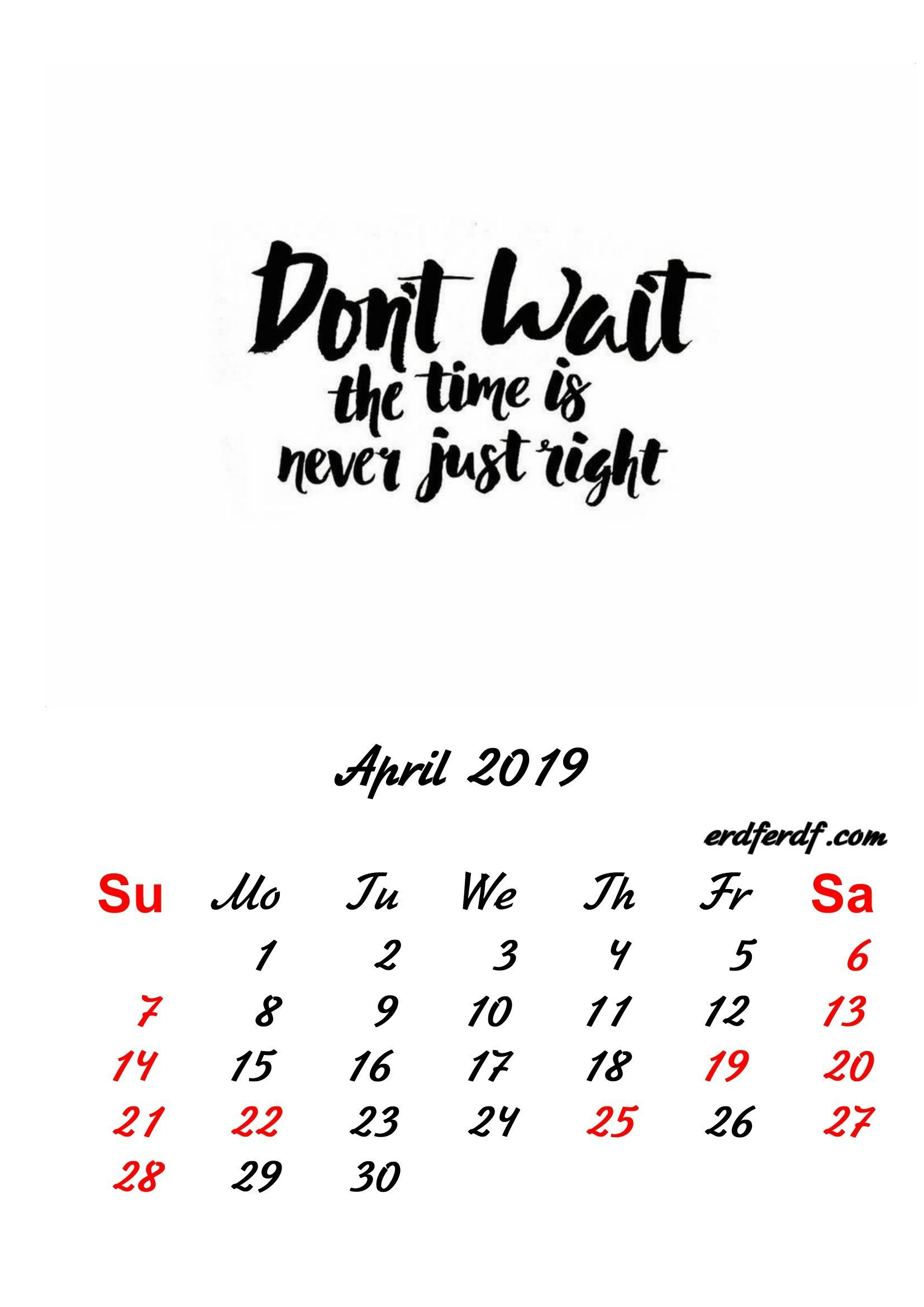 2019 Inspirational Quotes Printable Calendar With Regard To April Quotes And Sayings For Calendars