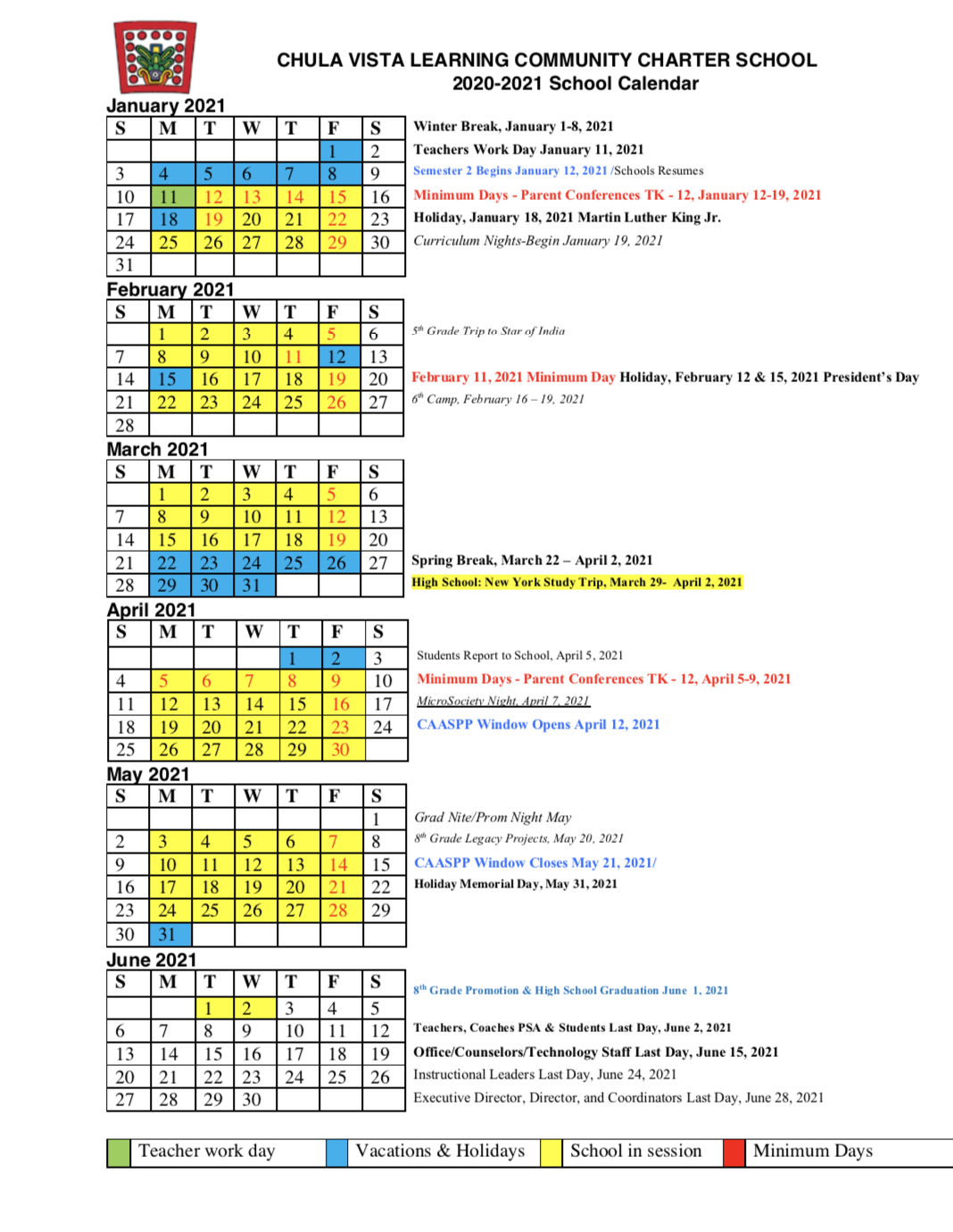 2020  2021 Calendar - About - Chula Vista Learning Community In San Diego School Calendar 2021 In Aiken County School Calendar 2021