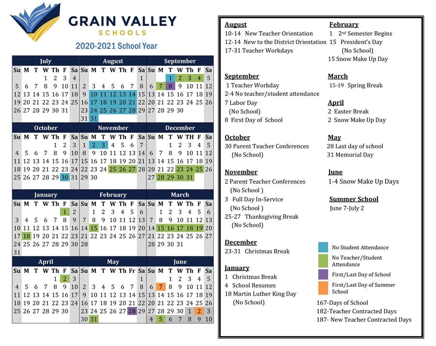 2020 2021 District Calendar - Grain Valley Schools Inside Wilkes Barre Area School District Calander 2021
