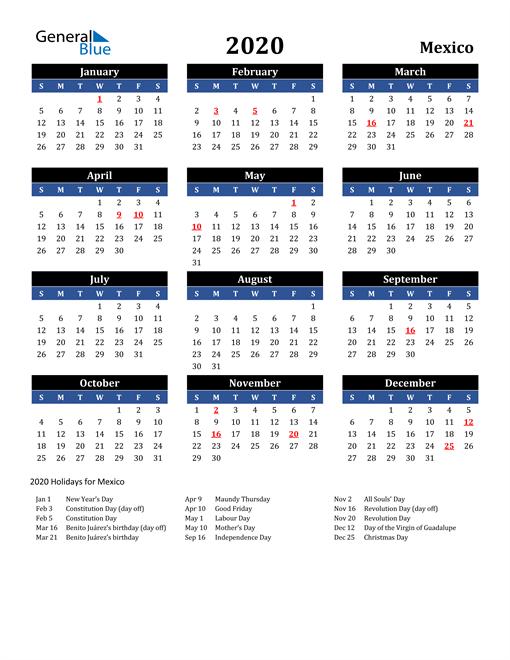 2020 Calendar - Mexico With Holidays With Mexican Calendar Saint Names 2021