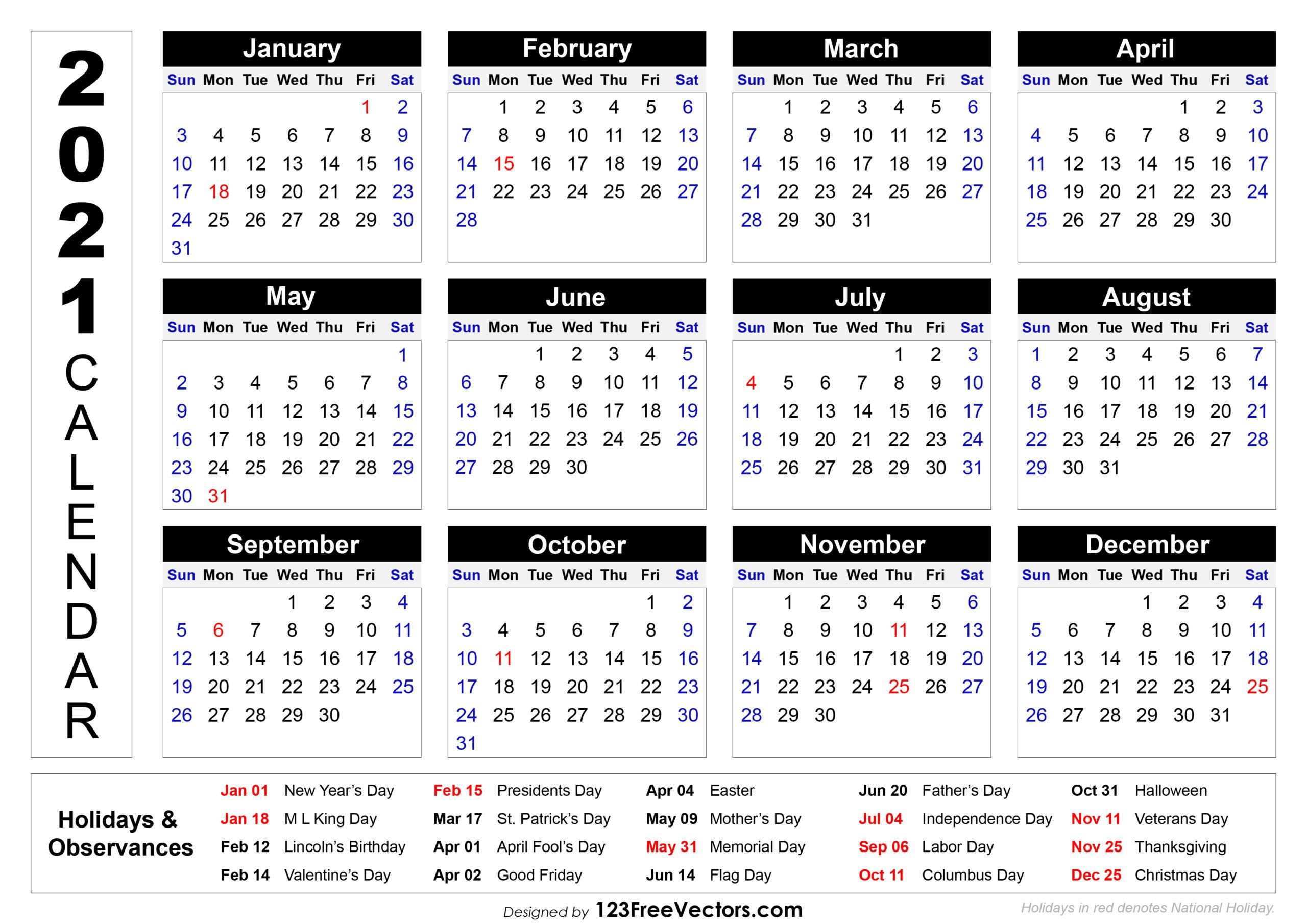 2021 Calendar Holidays And Observances | Printable in 2021 Calendar With Federal Printabl