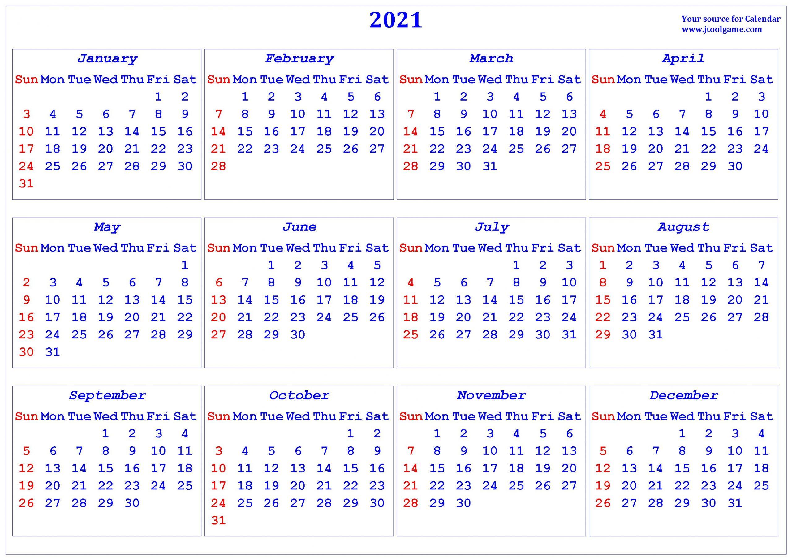 2021 Calendar - Printable Calendar With Usa Holidays In Every Day Is A Holiday Calendar 2021 Printable
