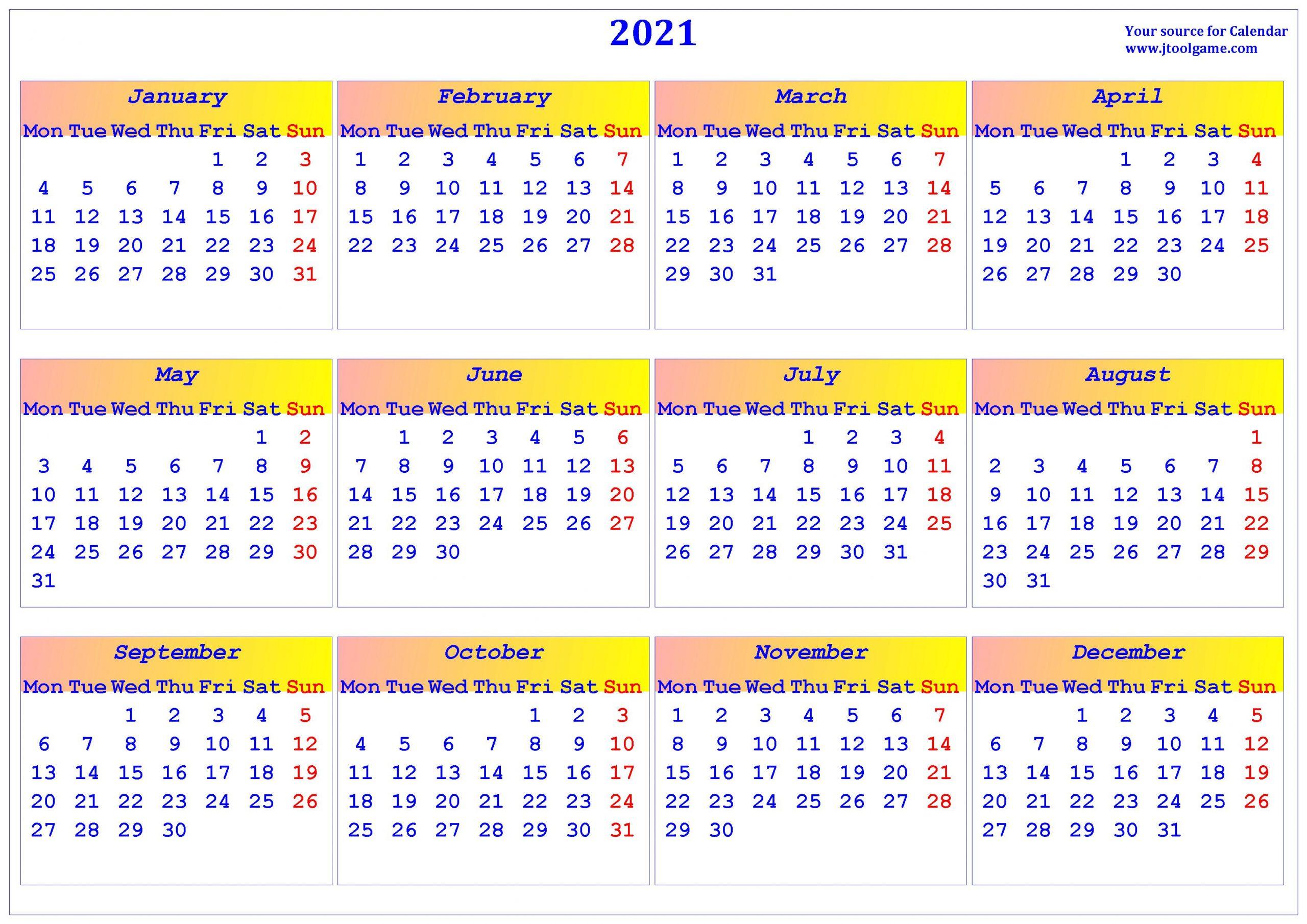 2021 Calendar – Printable Calendar With Usa Holidays With Every Day Is A Holiday Calendar 2021 Printable