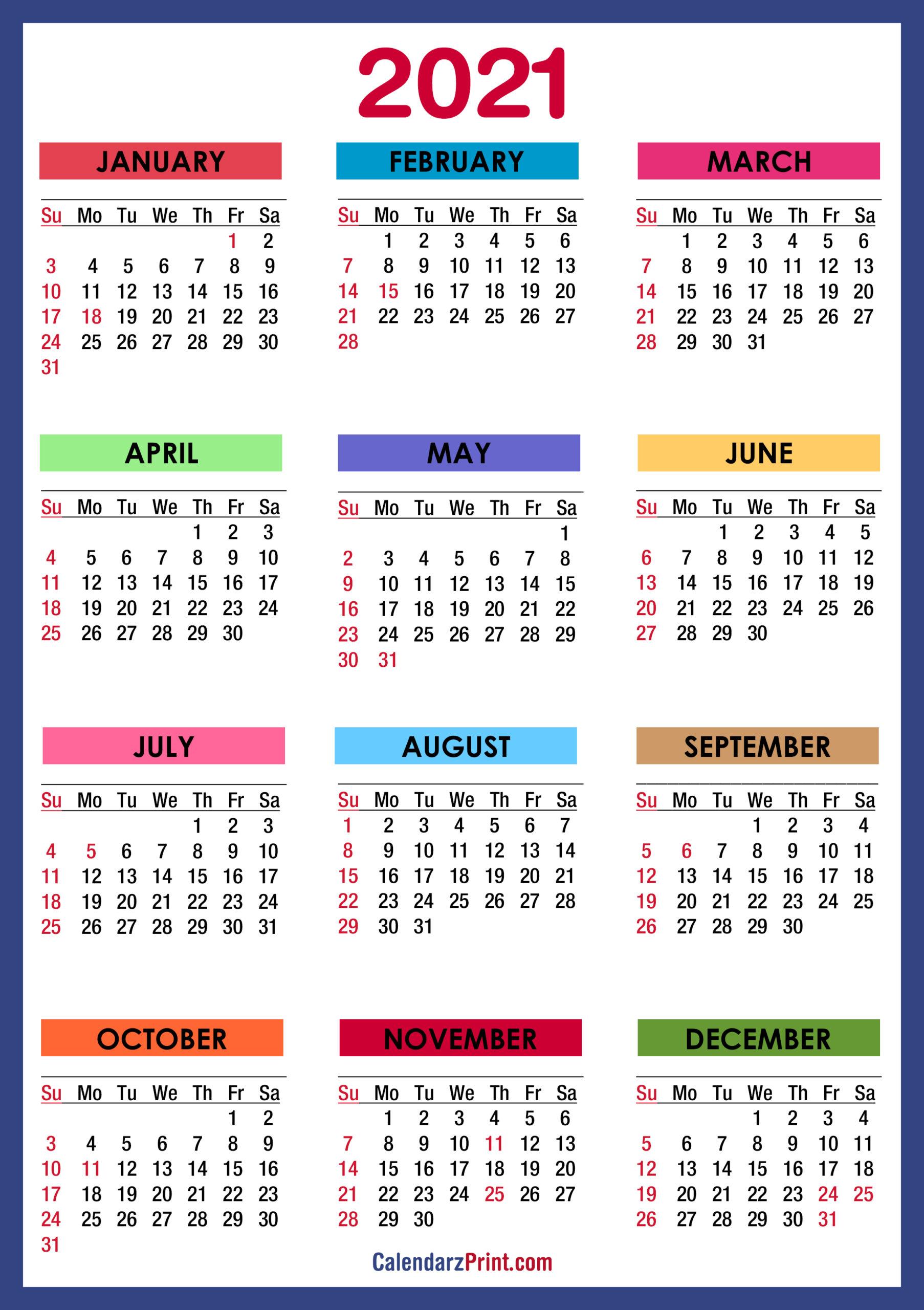 2021 Calendar Printable Pdf With Holidays | 2021 Printable For 2021 Calendar With Federal Printabl