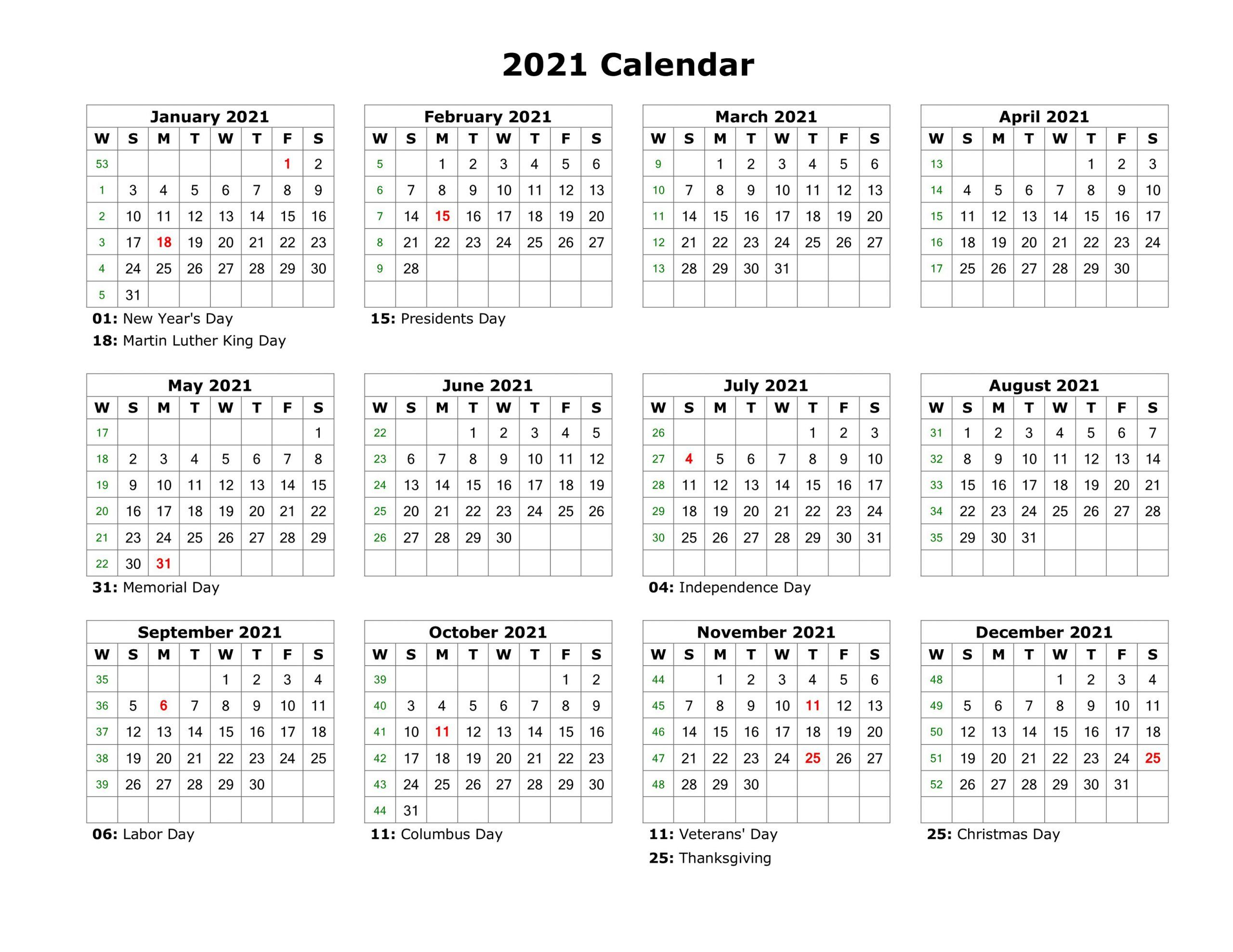 2021 Calendar Printable - Printable Calendar With Regard To 2021 Calendar With Federal Printabl
